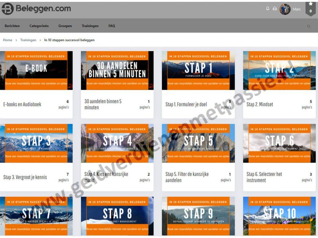 Op deze foto zie je de online omgeving van de cursus In 10 stappen succesvol beleggen