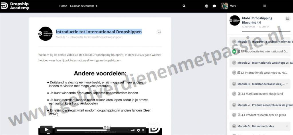 Op deze foto zie je module #1: Introductie tot Internationaal Dropshippen van de dropship academy 4.0
