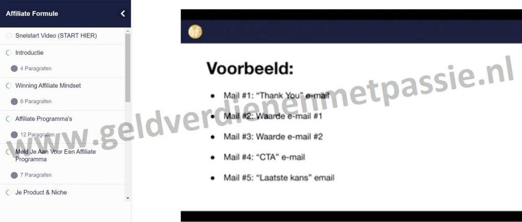 Op deze foto zie je module 10:  Affiliate E-mail Marketing Formule van de Affiliate Formule