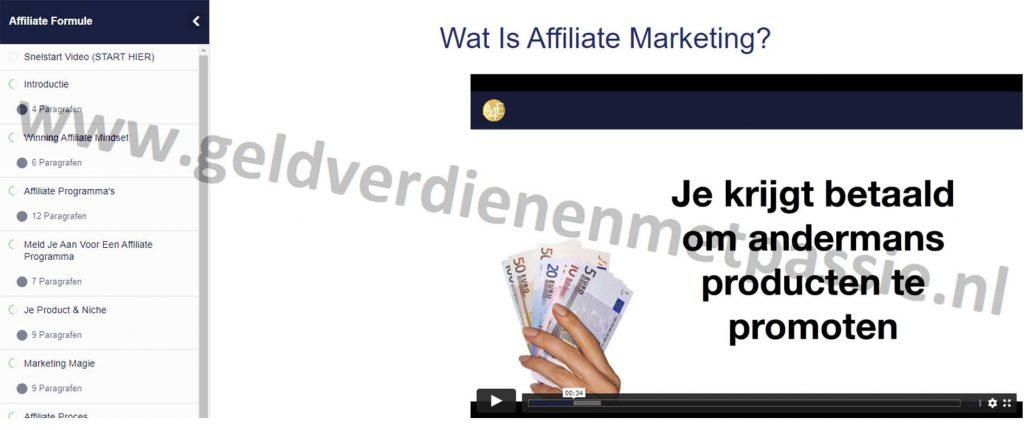 Op deze foto zie je module 2: Wat is affiliate marketing van de Affiliate Formule