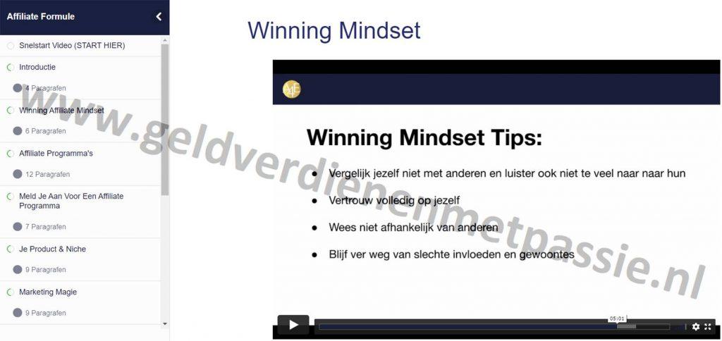 Op deze foto zie je module 3: Winning affiliate mindset van de Affiliate Formule