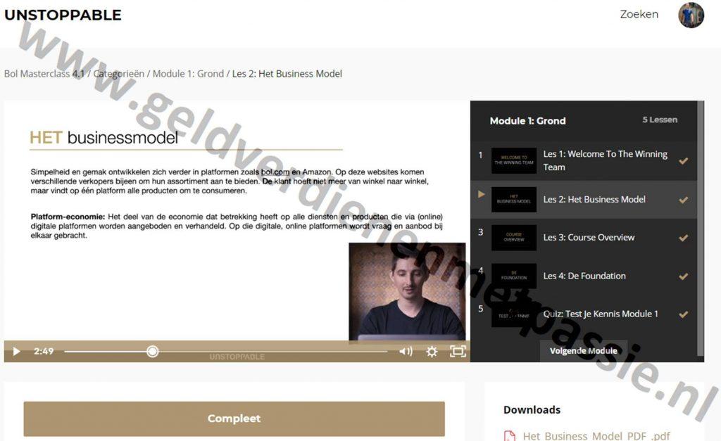 Op deze foto zien we module 1 les 2: het business model van de Bol Masterclass