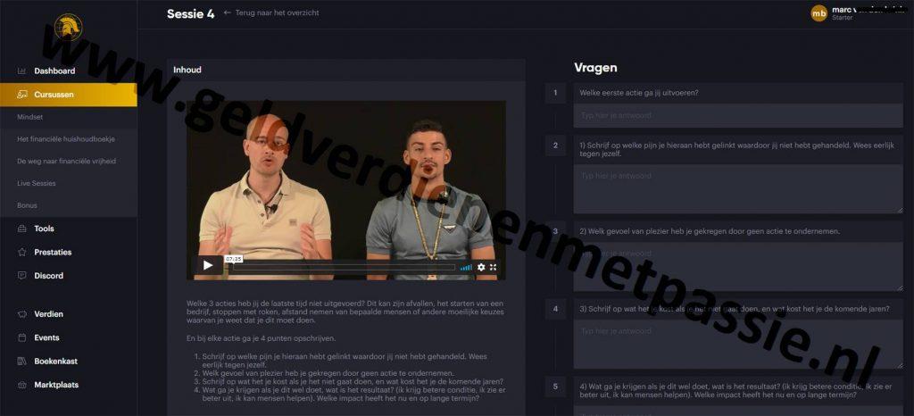 Op deze foto zie je de module mindset met Vasco en Boef van de The Millionaires Club