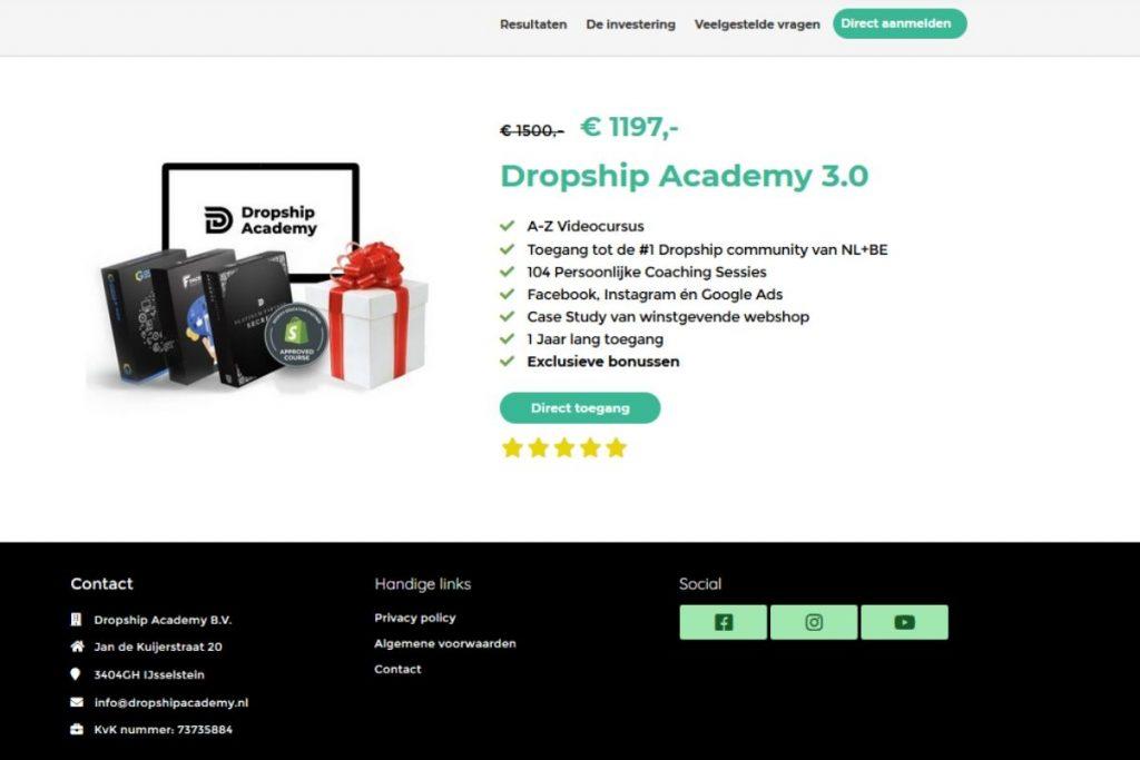 Op deze foto zie je de dropship academy 4.0 website gemaakt met phoenix