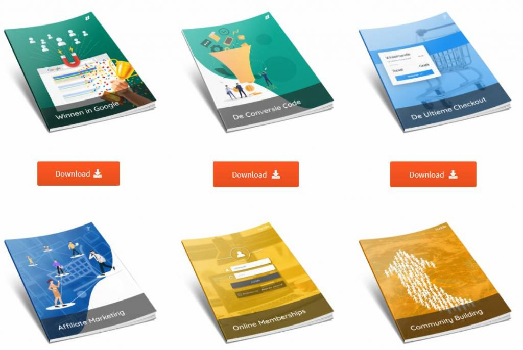 Op deze foto zie je gratis e-books voor de online marketing tornado