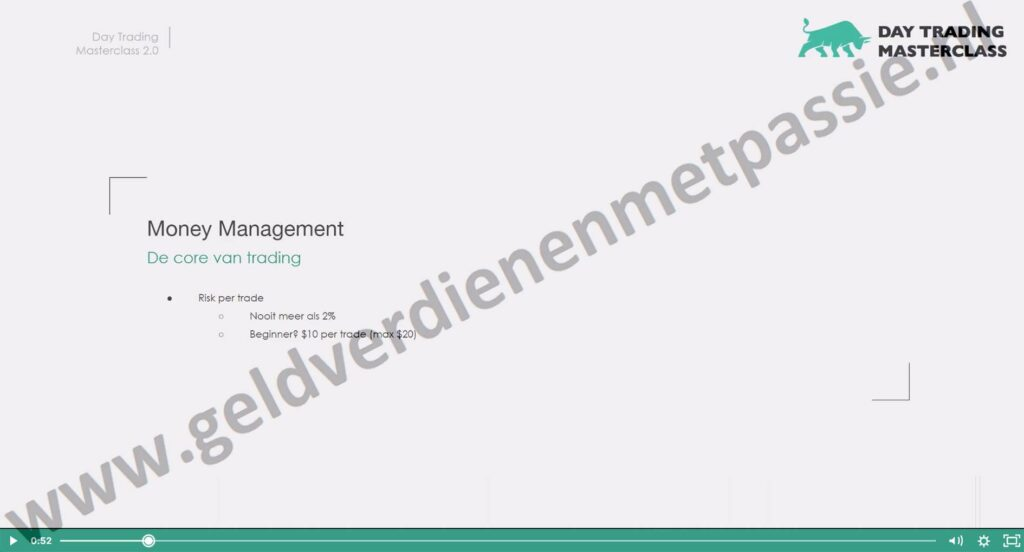 Op deze foto zie je Module #6: Money Management van de day trading masterclass