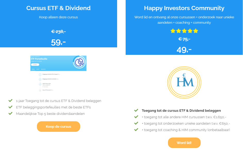 Op deze foto zie je de prijzen van de Cursus ETF & Dividend van Happy Investors Mindset